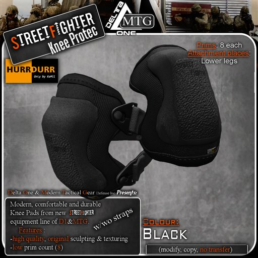 D1-MTG StreetFighter Combat Knee Protection BLACK