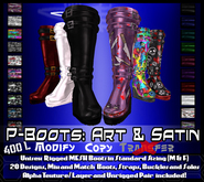 [LH] P-Boots - Art and Satin - Rigged Mesh Platform Boots