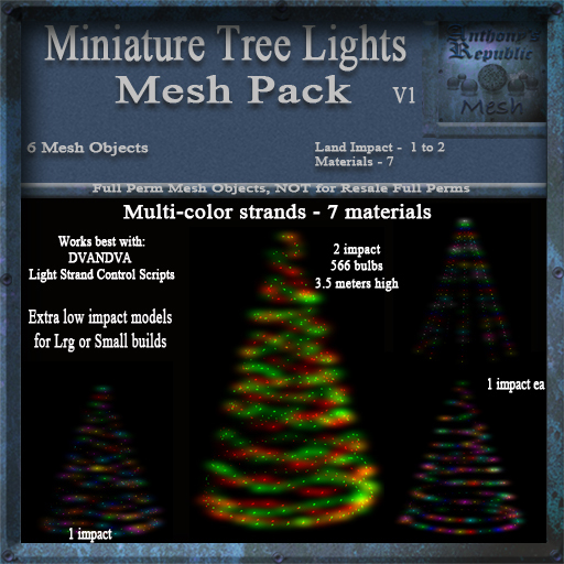 Miniature Tree Lights Mesh Pack, Christmas Holiday Builders Lighting Decoration Kit, Full Perm