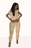 Leggings Beige Plaid Mesh