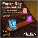 Paper Bag Luminaria - Picado Azul