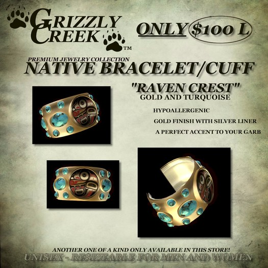 Grizzly Creek Raven Cuff Gold and Turquoise