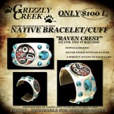 Grizzly Creek Raven Cuff Silver and Turquoise