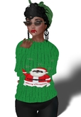 Christmas Santa Sweater Green Mesh