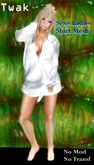 *Twak* Shirt Mesh BF Sexy Ladies White Silk