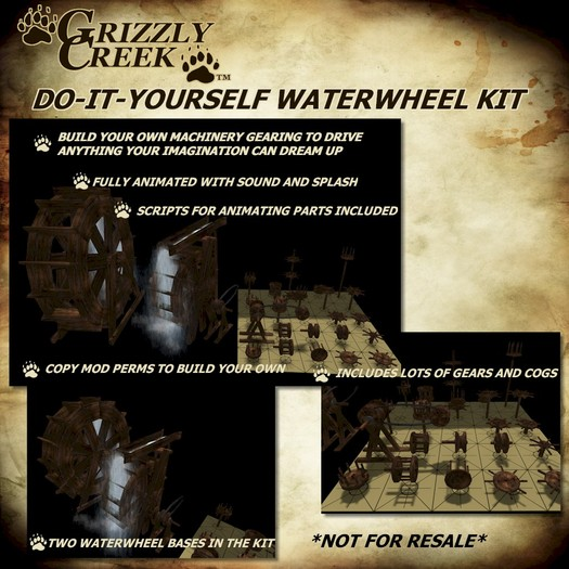 Grizzly Creek WaterWheel DIY Kit w/ Cogs and Gears