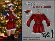 *Soulglitter* X-mas Outfit: Tunic Dress + Hat + Overknee Boots