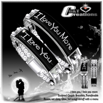 G&T Creations Couple Bracelets I Love you -  More  Silver