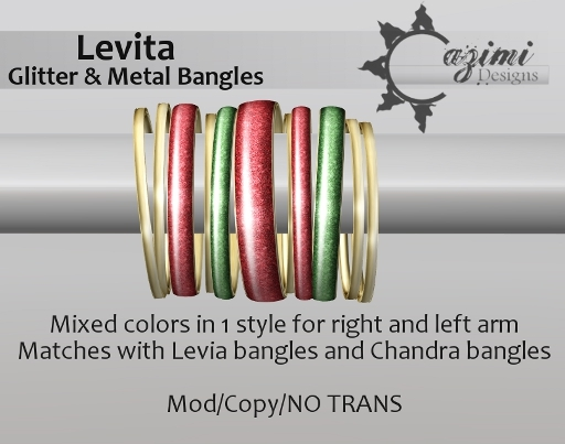 Cazimi: Levita Glitter Bangles *Mix in Christmas DOLLARBY 1L SALE RACK