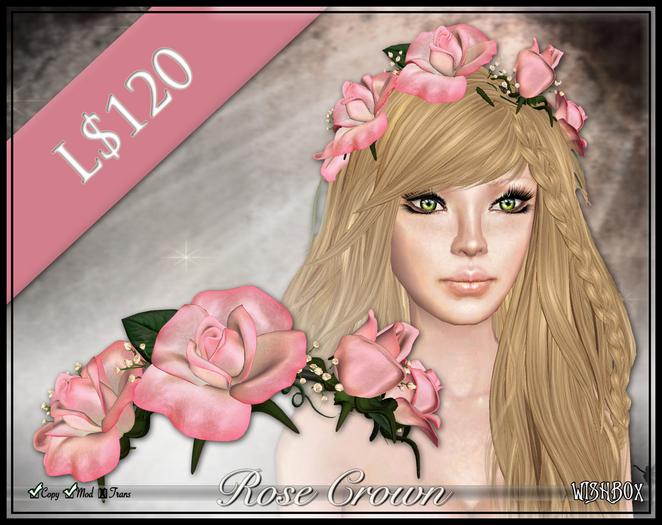 [Wishbox] Rose Crown (Pink Tips) - Premium Flower Hair Wreath