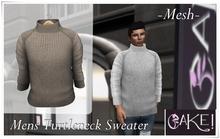 [[>CaKe!<]] Mesh Mens Turtleneck Sweater Grey