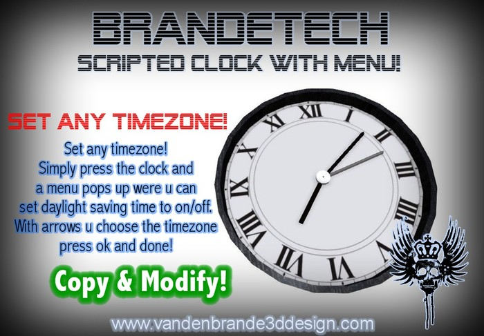 ~ FREEBIE Scripted clock with menu! Set Any timezone!