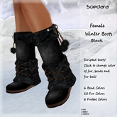 ~Soedara~ Female Fur Winter boots Black Leather