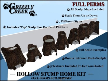 Grizzly Creek Hollow Stump Home Kit FULL PERM