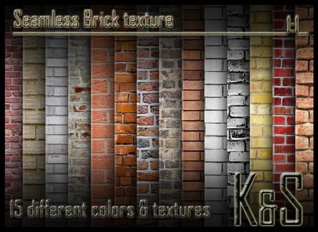 <K&S> Seamless Brick texture (15 different textures) Full Perm.