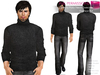 FULL PERM CLASSIC RIGGED MESH Men's Male Turtleneck Rolled Sleeve Sweater Jumper -  2 TEXTURES Black Brown