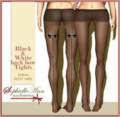 SophielleAnn Black&White back bow Tights