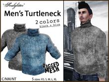 *Soulglitter* Men's Turtleneck - Black & Blue
