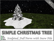Snowy Pine Tree + Snowpile {Full Perm}