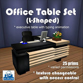 ON SALE - L-Shaped Office Table Set [texture change, office furniture, executive chair, executive table, desk, library]