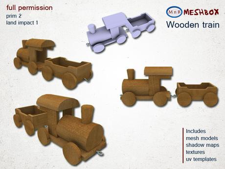 *M n B* Wooden train (meshbox)