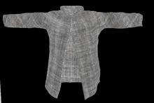 Mens Open Shirt Grey Linen Stripe Mesh Shirt