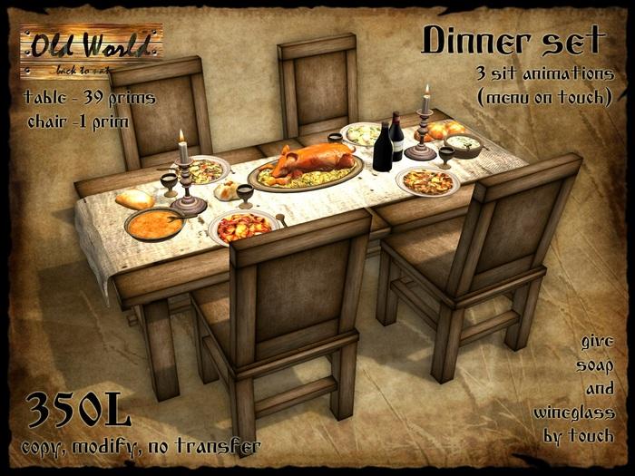 Second Life Marketplace Medieval Dinner Set Old World Medieval Furniture