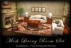Camelback Ivory Linen & Burl Living Room Set MESH