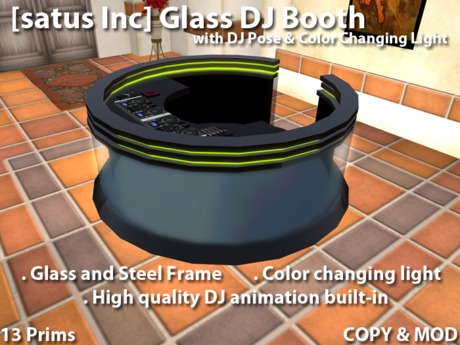 [satus Inc] Glass DJ Booth with Pose & Color Changing Light