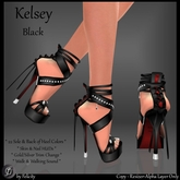 *Felicity* Kelsey Stilettos - Black Studded High Heels Shoes with Color Change Sole Sculpted Shoe (22 Texture Options)