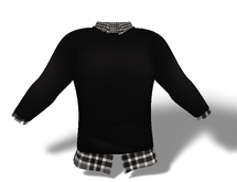 Mens Mesh Sweater and Shirt Combo Black Plaid
