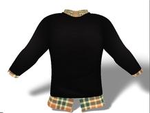 Mens Mesh Sweater and Shirt Combo Green Plaid