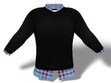 Mens Mesh Sweater and Shirt Combo Light Blue