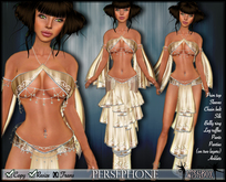 [Wishbox] Persephone (Champagne) - Belly Dance Dancer Silks with Chains - Arabian Nights Kajira Sexy Medieval Fantasy