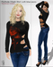 TuTy's - Porthole mesh shirt - Black with red flower (+ classic blue jeans)