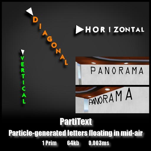 PartiTextDisplay   *0.003ms*   Single prim particle-based character display