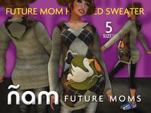 Future Mom Hooded Sweater  (Grey Plaid)