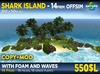 SHARK ISLAND - Real Pacific offsim island with 16 palms and 16 grass plants + foam and ocean waves