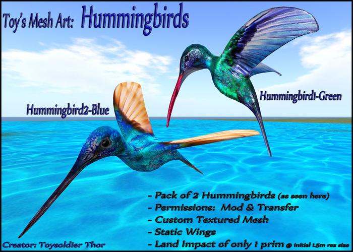 HUMMINGBIRDS - 2 Textured Mesh Birds - mod & transfer - 1 Prim decor art nature accents