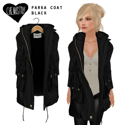 (Chemistry) Parka Coat - Black