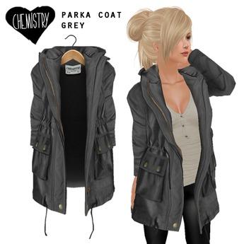 (Chemistry) Parka Coat - Grey