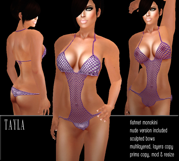 BD-Tayla purple silver fishnet black monokini bikini