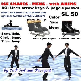 OnP mens ice skates with anims