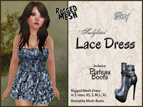 *Soulglitter* MESH Lace Outfit - Dress & Boots - Sky
