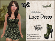 *Soulglitter* MESH Lace Outfit - Dress & Boots - Forest
