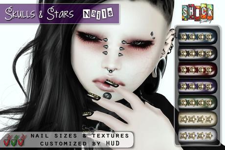 [ S H O C K ] Skulls & Stars Nails