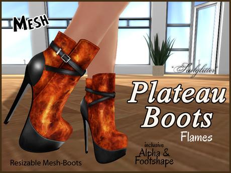 *Soulglitter* Mesh Plateau Boots - Flames