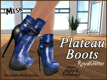 *Soulglitter* Mesh Plateau Boots - Royal - 3 Styles !!!