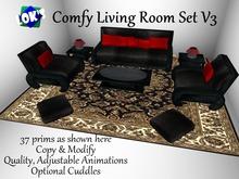 *Lok's* Comfy Living Room Set V3 with Cuddles (Black/Red)