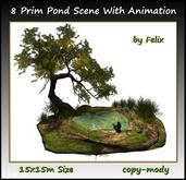 8 Prim Pond Scene With Animation 15x15m Size copy-mody